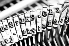 Type bars of typewriter with some type bars unfocused. Detail of type bars of typewriter with some type bars unfocused royalty free stock photos