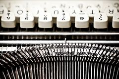Type bars and white buttons of typewriter Royalty Free Stock Photos