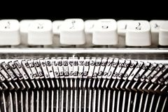 Type bars and white buttons of typewriter Stock Photography