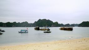 Type of a bay from the tropical island. The island in Vietnam. bay in Vietnam. Tourist boats at the beach on the island. On this video you can see a beautiful stock video footage