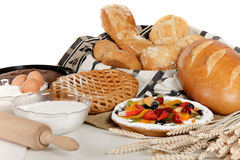 Type of bread, fruits pie, ingredients Stock Image