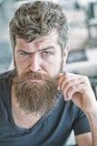 Type brutal de hippie tordant la moustache Macho barbu brutal sûr d'homme Toilettage et concept de salon de coiffure masculinité image libre de droits