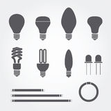 Type of bulbs icons Royalty Free Stock Image