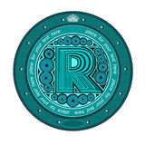 Type capital letter r circle banner label Royalty Free Stock Images