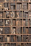 Type case. Printer's tray containing letterpress letters and numerals royalty free stock images