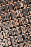 Type case at angle. Printer's tray containing letterpress letters and numerals stock image