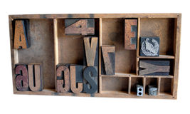 Type case arrangement 1. A type case with wod letters, printer's cuts and lead spacing stock image