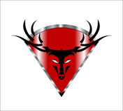 type Cerfs communs Buck Head sauvage sur le bouclier métallique rouge de diamant Images libres de droits