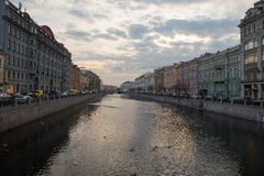 Type of channel and the coast at sunset. Spring. Saint-Petersburg. Russia. Stock Photos