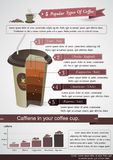 Type of coffee infographic cup and infographic Royalty Free Stock Photos
