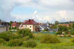 Type on the cottage settlement on the suburb of Kaliningrad. In summer day Royalty Free Stock Image