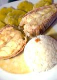 Type d'Amérique centrale de langoustine avec du riz de tostones Photo stock