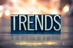 Type d'impression typographique en métal de concept de tendances photo stock