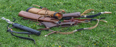 Type of Dacian ancient bows and arrows Royalty Free Stock Photos