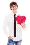 Type dans l'amour avec le présent Photo stock