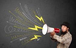 Type de chef criant dans le mégaphone avec les lignes et les flèches tirées par la main Image libre de droits