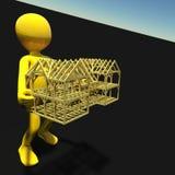Type de concept jugeant la maison en bois d'isolement sur le rendu du fond 3d Image libre de droits