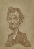 Type de gravure de caricature de sépia d'Abraham Lincoln Photographie stock libre de droits