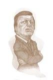 Type de gravure de sépia de caricature de Jose Manuel Barroso Photo libre de droits