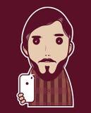 Type de hippie avec le téléphone illustration stock