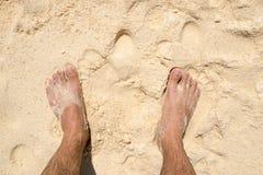 Type de pied de vue supérieure sur la plage sablonneuse Photographie stock