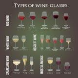 Type de verres de vin Pour les vins rouges, blancs, de désert et divers illustration stock