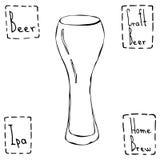 Type de Weizen en verre de bière Vecteur tiré par la main Illustraition Photographie stock libre de droits