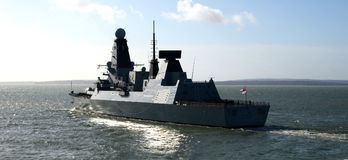 Type 45 destroyer the solent, Portsmouth. State of the art warship on its maiden voyage Stock Image