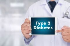 Type 2 diabetes doctor a test disease health medical concept. Doctor hand working Professional Royalty Free Stock Images