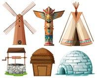 Type différent de bâtiments illustration de vecteur