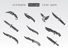 Type différent de couteaux photo stock