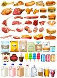 Type différent de nourriture et de dessert illustration stock
