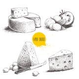Type différent tiré par la main d'ensemble de fromage illustration de vecteur