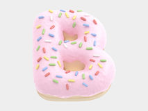 Type. Donut font pink cream. isolated on white background. 3D illustration Royalty Free Stock Image