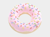 Type. Donut font pink cream. isolated on white background. 3D illustration Stock Photos