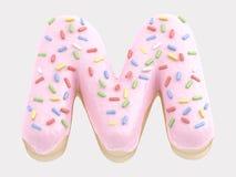 Type. Donut font pink cream. isolated on white background. 3D illustration Stock Image