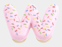 Type. Donut font pink cream. isolated on white background. 3D illustration Stock Photo