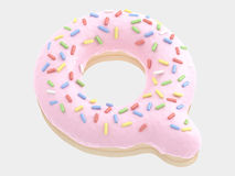 Type. Donut font pink cream. isolated on white background. 3D illustration Stock Images