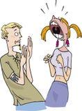 Type effrayé et fille fâchée illustration stock