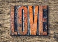 Type en bois blocs d'impression - amour d'impression typographique Image libre de droits