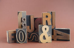 Type en bois groupe d'impression typographique Photo stock