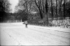 Type en parc d'hiver avec la neige image libre de droits