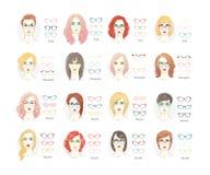 Type en verre de coupe de cheveux de fille Verres type ou ensemble de coupe de cheveux de femme Illustration plate de collection  illustration de vecteur