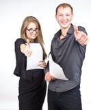 Type et femme heureux d'affaires Photo stock