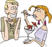 Type et fille fâchée mangeant de la glace illustration de vecteur