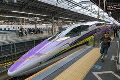 500 TYPE EVA, the spaceship-themed Shinkansen. OSAKA,JAPAN-APRIL 7,2016:500 TYPE EVA, the spaceship-themed Shinkansen. This is special Shinkansen train to Stock Photography