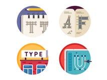 Type font pixel perfect icons set Stock Photo