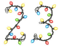 Type. Garland multicolor light font.  isolated on white background. 3D illustration Stock Image