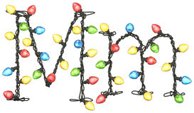 Type. Garland multicolor light font.  isolated on white background. 3D illustration Royalty Free Stock Photos