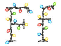 Type. Garland multicolor light font.  isolated on white background. 3D illustration Stock Photos